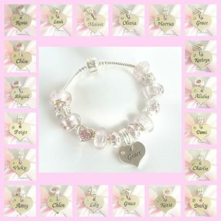 NS/ TEENS ICE PINK & SILVER CHARM BRACELET PERSONALISED NAMES M Z