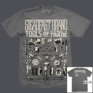 NEW W/ TAGS Steadfast Brand TOOLS OF THE TRADE Tee Shirt GREY SMALL