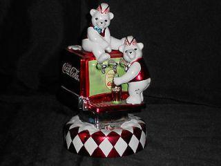 Coca Cola Musical Collection Polar Bear Soda Fountain Music Box Coca