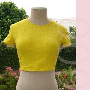 CHANEL Bright Lemon Yellow Embossed CC Logo TopS