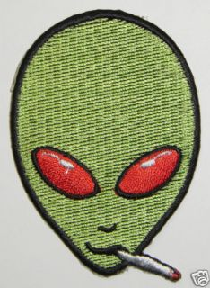 Alien Iron On Patch Smoking Alien UFO Roswell AREA 51