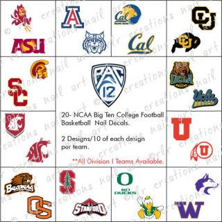 20  NCAA COLLEGE FOOTBALL BASKETBALL WATER SLIDE NAIL DECALS **PAC 12