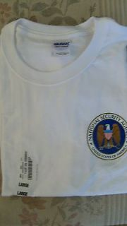 NSA National Security Agency White Shirt Color Logo Seal NEW L Large
