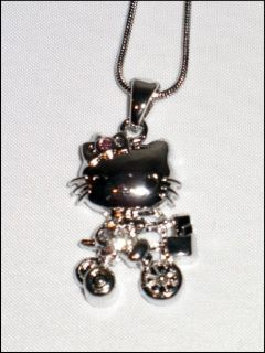 CUTE SILVERTONE KITTY on BIKE NECKLACE CLEAR CRYSTALS