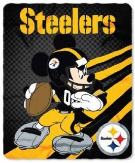 NFL Licensed Pittsburgh Steelers Football Mickey Mouse 50x60 Fleece