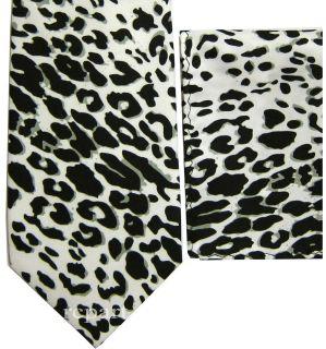 New Mens polyester leopard print necktie set white