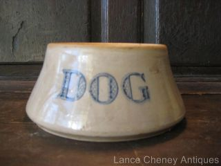 Vintage Large Stoneware Pottery Spaniel Type Dog Bowl Word DOG in Blue
