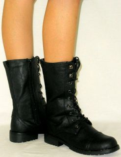 Adjustable Lace Up Combat Military*Flat Distressed Zipper Riding Boots
