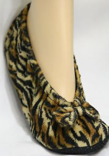 Ballerina slippers plush black brown tiger stripe womens X LARGE fits