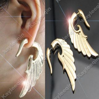 Fab Gold Angel Wing False Ear Plug Stud Tribal Earrings Goth Punk Rock