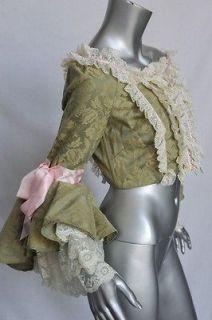 GABBANA Brocade+Bustier Rococo Marie Antoinette Cropped Top Blouse S/M