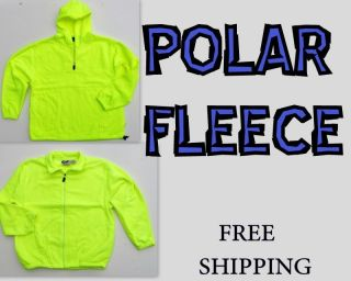 Mens High Visibility Polar Fleece Hoodies HI VIS Safety Yellow Size