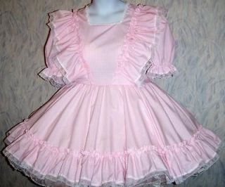 Made to fit, Square Dance,Unisex, Sissy,Pink Gingham Play Dress, Sunny