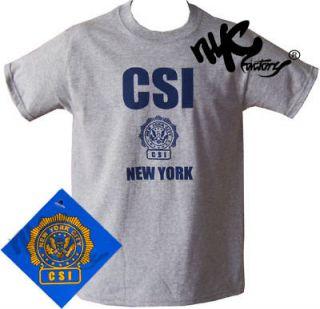 CSI NEW YORK CITY POLICE CRIME SCENE INVESTIGATOR GRAY NAVY T SHIRT