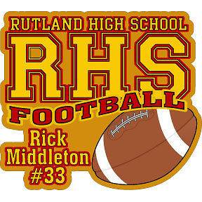 inch personalized vinyl decal HS Football player name #