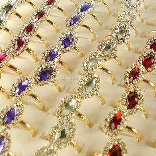 Lots of 10 PC Gold Plated Diamond Rhinestone Crystal Adj. Rings R221