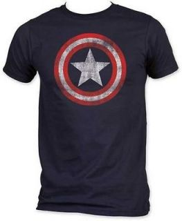 New Licensed Captain America Distressed Shield Marvel Adult T Shirt S