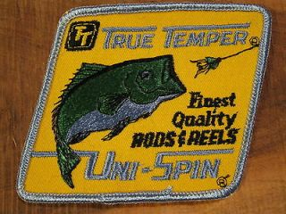 Vintage TRUE TEMPER UNI SPIN Rods & Reels Cloth Fishing PATCH