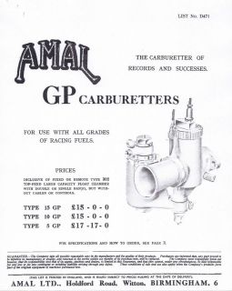Amal GP Types 1&2, 5 10 15GP carburetor parts list and tuning 31 pages