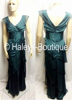 Adrianna Papell Occasions Dress Size 4 Dark Green Formal Gown Chiffon