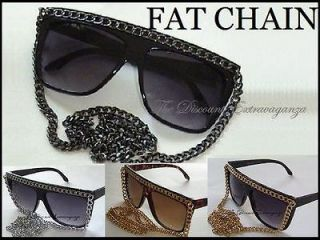 SNOOKI Celebrity Wayfarer Style Flat Top Fat Chain Sunglasses