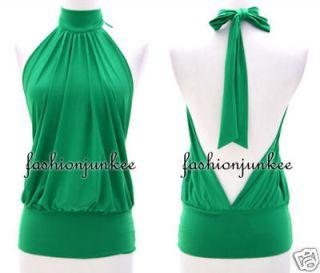 GREEN Tank Top CHOKER Open V Back Sexy Halter Tunic Backless Clubwear