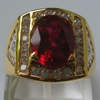 CT PRECIOUS RED RUBY OVAL WHITE CZs JEWELRY MENS RING SIZE 11.5