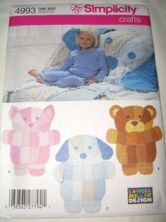 4993 Rag Quilt Wall Hanging Throw Pattern Bear Dog Cat Child Gift