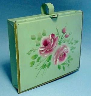 ROSE FRENCH CHIC GREEN SILENT BUTLER SHABBY HP TOLE JEWELRY BOX VTG