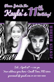 BIEBER Zebra Print Invitation 2012 Rock Star Band Birthday Party PHOTO