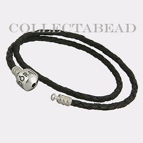 black leather bracelet pandora in Charms & Charm Bracelets