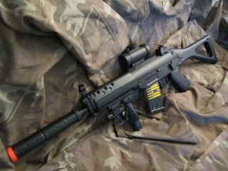 AEG Electric SIG Assault Rifle with Scope, Tactical Light, Laser