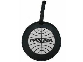 New Pan Am Black White Round Luggage Tag Bag Vintage Original Small