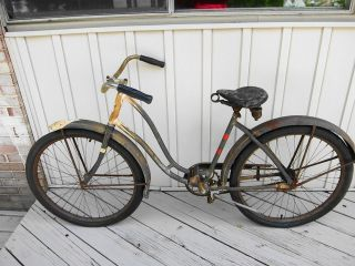 VINTAGE 1937 PREWAR SCHWINN THE WORLD WOMENS GIRLS BIKE   BARN FIND