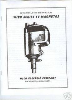 Wico Series XV Magneto Manual Parts List Instructions