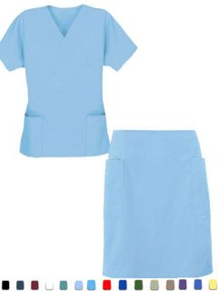 New PLUS SIZE Medical Scrub Uniform Ladies Shirt & Skirt Set with 4