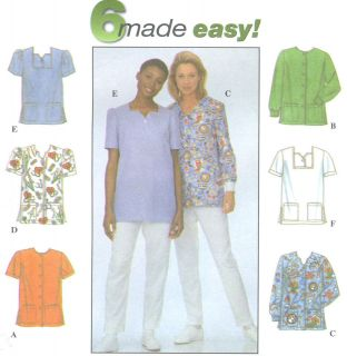 Misses Uniform Scrub Top Sewing Pattern Neck Variations Patch Pockets