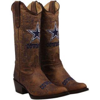Dallas Cowboys Womens Flyover Pull Up Cowboy Boots   Brown