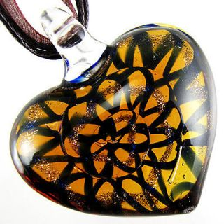 Nice Heart Lampwork Murano Art Glass Pendant Ribbon Necklace Cord