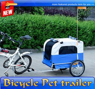 HOMCOM Large Portable Pet Dog Bicycle Bike Trailer Folding Blue White