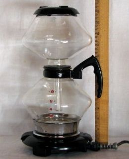 GENERAL ELECTRIC GLASS VACUUM COFFEE MAKER WITH HOT PLATE WARMER