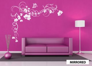 BUTTERFLY FLOWERS VINE WALL STICKER LARGE SOFA VINYL WALL ART GRAPHIC