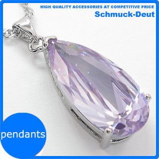 jewelry pear cut tanzanite white gold plated pendant free necklace