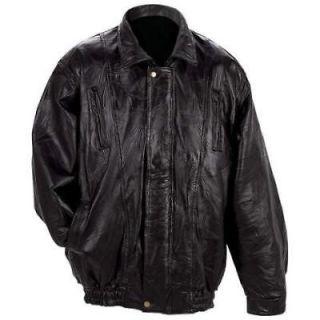 Mens Black Lambskin Leather Bomber Jacket, Coat NEW