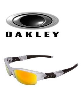 Authentic OAKLEY FLAK JACKET Silver / Fire Iridium Sunglasses 03 884