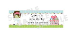 SLUMBER BIRTHDAY PARTY SALON SPA PARTY water bottle label wrappers