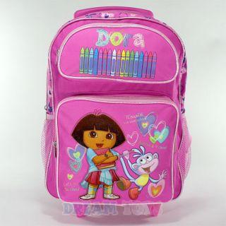 Dora the Explorer Pink School Roller 16 Backpack   Rolling Girls Bag