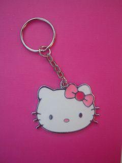 PINK WHITE HELLO KITTY KEY RING CHAIN KITSCH CUTE RETRO KAWAII EMO
