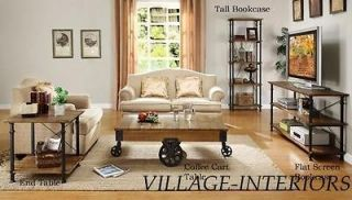 RECLAIMED WOOD AND IRON INDUSTRIAL CHIC RUSTIC END SIDE TABLE
