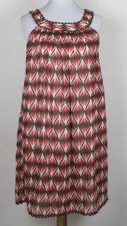 White brown & coral print semi sheer MILLY CABANA dress beach cover up